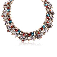 Multicolor Statement Necklace Fashion Bib For Women Juniors Teen Red Gold Yellow…