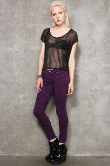 Tripp NYC Purple Zebra Washed Down Jeans
