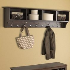 35 Finest Small Mudroom Entryway Storage Design Ideas - Page 14 of 45 Entryway Storage, Wall Racks, Foyer Decorating, Wall Mounted Coat Rack, Storage Shelves, Shelves, Prepac, Hanging Entryway Shelf, Entryway