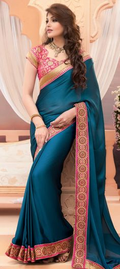159254 Blue color family Party Wear Sarees in Crepe,Satin,Silk fabric with Lace,Thread work with matching unstitched blouse. Fancy Sarees, Party Wear Sarees, Saree Designs Party Wear, Indian Attire, Indian Wear, Cheongsam, Hanfu, Indian Dresses, Indian Outfits