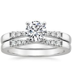 18K White Gold Dolce Diamond Matched Set (1/4 ct. tw.) but with Marquise or Asscher cut center stone.
