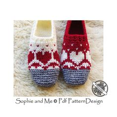 Ravelry: Snow Heart Slippers pattern by Sophie and Me-Ingunn Santini