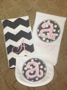 Chevron Pink and Gray Set by Babybeecute on Etsy, $26.00