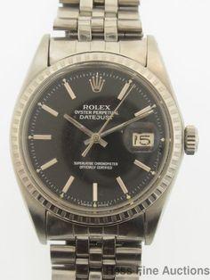 Genuine Vintage Mens Rolex Datejust Black Dial 1603 Steel Watch #Rolex #Sport