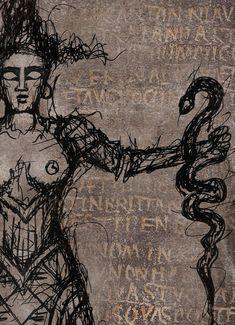 Serpent Goddess PencilBlack Digital print Premium Satin | Etsy Thanks For The Gift, Minoan, Pompeii, Ancient Greece, Crete, Paper Size, Occult, Giclee Print, Digital Prints