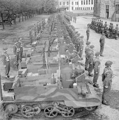 Lord Lyell was with the 1st Battalion, Scots Guards seen here on parade at the Royal Wanstead School, London, 9 October 1942.