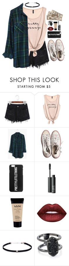 """""""punk pop princess~"""" by tips-icons-4life ❤ liked on Polyvore featuring Madewell, Converse, NARS Cosmetics, NYX, Lime Crime, Carbon & Hyde and Kendra Scott"""