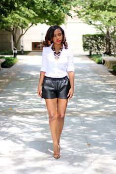 Leather Shorts and White Button Up