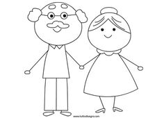 Grandparents day coloring page - white club Art Drawings For Kids, Drawing For Kids, Easy Drawings, Art For Kids, Coloring Books, Coloring Pages, Grandparents Day Crafts, Doodle People, Morse