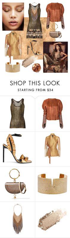 """bronze fashion"" by sofizophe ❤ liked on Polyvore featuring Sanders, Nili Lotan, Haider Ackermann, Yves Saint Laurent, Rick Owens, Chloé, Allison Bryan, Brunello Cucinelli, Chantecaille and Pat McGrath"