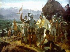 1541 – #Santiago, Chile is founded by Pedro de Valdivia.   de Santiago», óleo de Pedro Lira (1858). La obra muestra a Pedro de ...