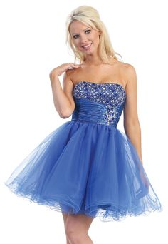 A-line Strapless Tulle Short/Mini Royal Blue Homecoming Dress at Millybridal.com
