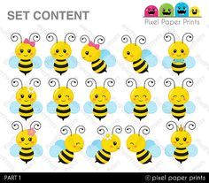 Busy Bee  Clip art and digital paper set  Bee clipart