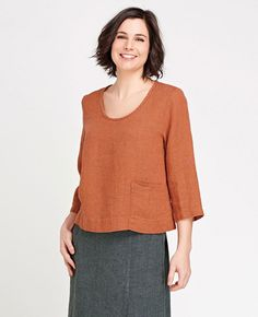 FLAX Designs' FLAX Transition 2015 Pocketed Crop   Fg Clothing #FLAXdesigns #FLAXclothing #Linenclothing #flaxtop #linentop #flaxblouse #linenblouse #naturalclothing