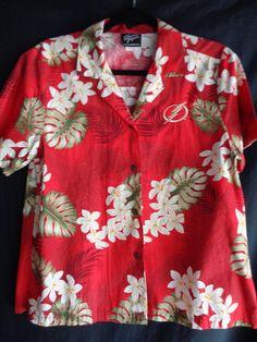 Vintage Hawaiian blouse red large