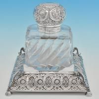 B6810: Antique Sterling Silver Ink Stand - J. N. Mappin Hallmarked In 1893 London - Victorian - Image 1