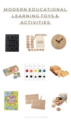 Looking for the best school montessori toys for preschoolers and kindergartners? We've rounded up some modern educational toys that are the perfect kindergarten and preschool learning activities. We found the best toddler montessori puzzles like wooden number puzzles and wooden alphabet puzzles, a montessori clock, wooden alphabet letters, wooden counting tray, montessori flashcards, and more! Keep reading to see all the back to school supplies that's perfect decor for homeschool room ideas! Outdoor Activities For Toddlers, Learning Toys For Toddlers, Map Activities, Preschool Learning Activities, Infant Activities, Kids Learning, Wooden Alphabet Letters, Abc Cards, Mothers Of Boys