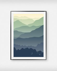 Mountain Wall Art Mountain Landscape by WallArtPrintsDesign Minimalist Landscape, Minimalist Art, Easy Canvas Painting, Halloween Painting, Mountain Paintings, Mountain Landscape, Mountain Mural, Landscape Illustration, Interior Exterior