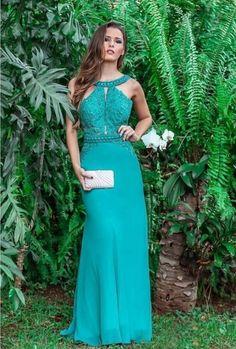 vestido de festa verde longo