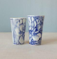 Porcelain Tumbler wit Blue and White Flower