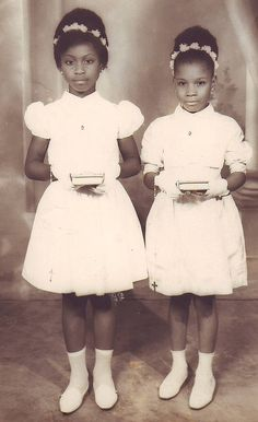 Beautiful little girls (1964) back in a day when they not only respected their elders, went to Church and Sunday School; but also dressed nicely for both. It must be spring because of the white; but please note the white gloves, the white bibles and the white shoes & socks. Such elegantly modeled young ladies. ღpwro