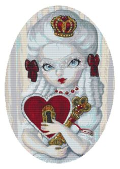 Modern cross stitch kit 'Queen of Hearts' by Simona Candini - Needlecraft kit