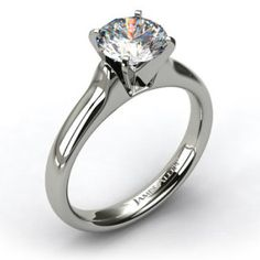 Platinum Heavy Contour Solitaire Engagement Ring