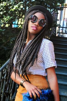 black girl in box braids, afro hairstyle, black womens inspiration