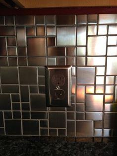 modern stainless steel copper backsplash tiles with modern kitchen
