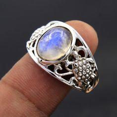 Designer 925 Sterling Silver Natural Rainbow Moonstone Turtle Design Ring us 8 #Unbranded #Ring #MOTHERSDAY