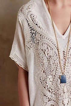 Live, Give, Love: Tops: Short Sleeve Anthropologie Clothing, Irish Lace, Types Of Fashion Styles, Boho Fashion, Punk Fashion, Lolita Fashion, Fashion Dresses, Pretty Outfits, Dress To Impress