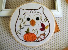 Embroidery Pattern PDF Owl Autumn Fall Pumpkin by sewjenaissance, $5.00