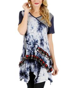 Look at this Aster Blue Blue & White Tie-Dye Handkerchief Tunic on #zulily today!