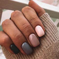 Beautiful winter nails, Beige nail art, Grey gel polish, Modern nails, Multi-color nails, Nails in pink shades