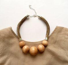 Wooden Necklacenatural jewelryLinen necklaceEco