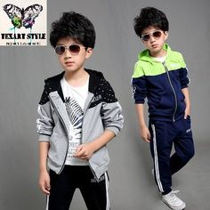 Cheap kids suit, Buy Quality children clothing directly from China sports clothing Suppliers: tracksuit kids Suit 2016 autumn Boy Hooded Mosaic sports clothing hoodies+pants Boy coat 4 6 8 10 12 14 year Children's clothing Fashion Kids, Autumn Fashion, Kids Sports Clothes, Boys Tracksuits, Stylish Little Girls, Kids Suits, Casual Suit, Kind Mode, Kids Wear