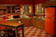 Retro Orange Kitchen - http://orangekitchendecor.siterubix.com/ love the vintage/retro orange refrigerator!  #ppgorange