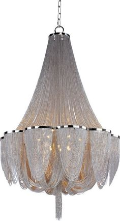 Maxim 21468 Chantilly 14 Light Single-Tier Chandelier Polished Nickel Indoor Lighting Chandeliers