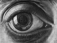 MC Escher Look in the eye's reflection Alphonse Mucha, Scary Optical Illusions, Escher Kunst, Mc Escher Art, Drawn Art, Wow Art, Art Plastique, Printmaking, Lens Flare