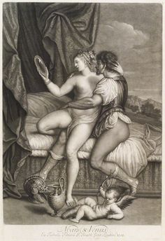 'Loves of the Gods': Mars and Venus by John Smith, after Titian - mezzotint, 1708. © National Portrait Gallery, London