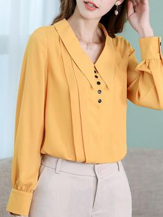 Spring Women Chiffon Long Sleeve Shirt Office Lady Solid Color Casual V Neck Button Blouse Slim Fashion Shirt 2019 New Top Blusa Blouse Styles, Blouse Designs, Cheap Blouses, Shirt Blouses, Cheap Womens Tops, Yellow Blouse, Blouse Online, Trendy Tops, Shirt Style