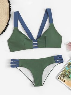 Shop Color-block Top With Ladder Cut-out Bikini online. SHEIN offers Color-block Top With Ladder Cut-out Bikini & more to fit your fashionable needs. Cut Out Bikini, High Leg Bikini, Bikini Set, Cheeky Bikini, One Piece Swimwear, Bikini Swimwear, Bikini 2018, Swimwear Fashion, Trendy Bikinis
