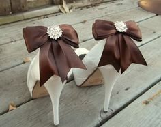 Satin Bow Shoe Clips  set of 2  with sparkling by ShoeClipsOnly, $34.00