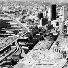 Laying the groundwork for The Kingdome. Western Washington, Seattle Washington, Washington State, Seattle Homes, Beautiful Places To Live, Evergreen State, Emerald City, City Streets, Historical Photos