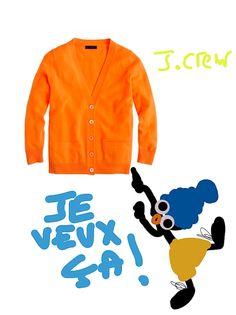 Le blog de Sophie Fontanel : gilet orange vif de j-crew presque neon fluo avec poches plaquées