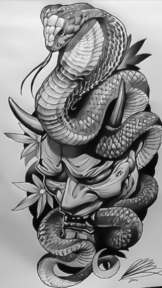Japanese Snake Tattoo Drawings Pin By Дмитрий Оксён On Тату Hannya Maske Tattoo, Oni Tattoo, Hanya Tattoo, Samurai Tattoo, Shogun Tattoo, Japanese Tattoo Sleeve Samurai, Devil Tattoo, Japanese Sleeve, Asian Tattoos