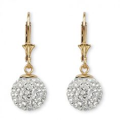 Round Crystal 18k Gold over Sterling Silver Ball Drop Earrings at Viomart.com