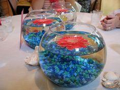 aquarium rocks & gerber daisies