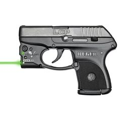 Perfect for concealed carry. The Ruger LCP .380 ACP semiautomatic handgun with green laser sight, 2.75-inch barrel. It holds 6 rounds, is 0.82 inches wide only and weighs 9.4 ounces.
