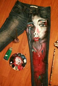 Custom Painted Jeans by MagicCreators on Etsy